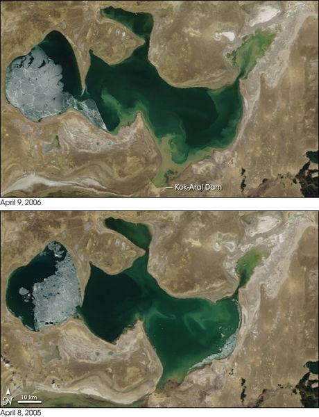 The Aral Sea Comparison Map 2005 v 2006