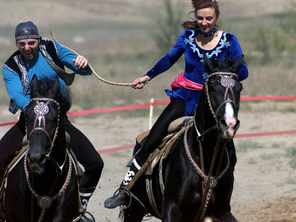 Kazakh Traditional Game - Catch the girl