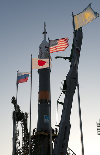 Flags in Baikonur