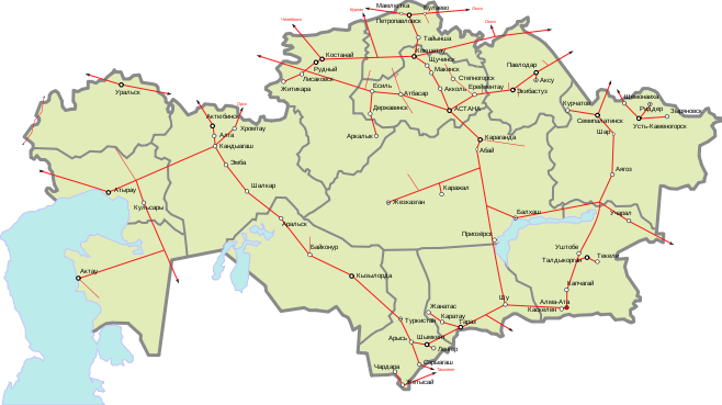 Map of Kazakhstan Railways