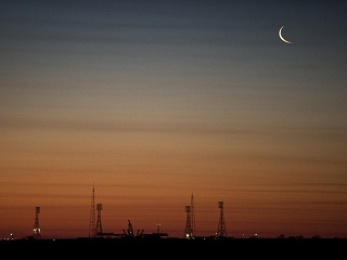 Dawn and Moon in Baikonur