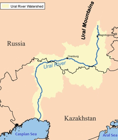 The Ural River runs through Kazakhstan