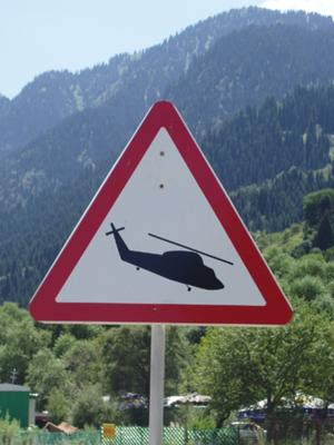 Helicopter Road Sign in Chimbulak
