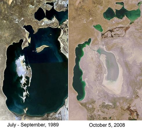 The Aral Sea Comparison Map 1989 v 2008