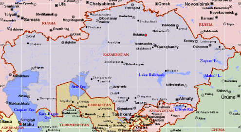 Kazakhstan Political Map
